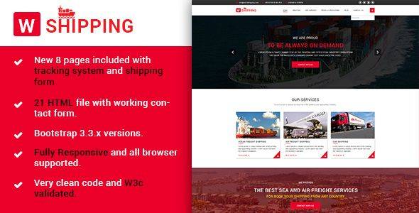 W-Shipping – HTML5 Responsive The Shipping, Cargo, Logistics